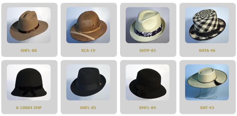 Distintos tipos de sombreros DelPiano